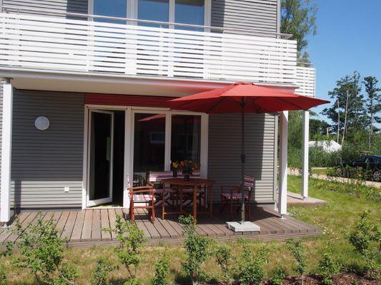 Terrasse von Panorama-Apartment * Hafenperle*  mit 2 Terrassen und optional Bootsliegeplatz, Haus 5/ A5