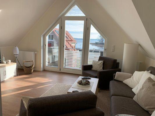 Wohnzimmer von 4 Zimmer Maisonette *Hafendomizil * optional mit Bootsliegeplatz, Hund erlaubt (P5A8)
