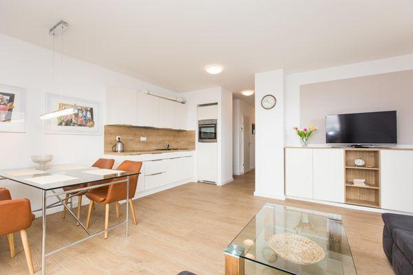 Küche / Küchenzeile von Eckapartment mit 2 Terrassen mit Parkplatz am Haus und  optional mit Kanu , Hund erlaubt P7 A5