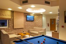 Lounge and pool table in the reception area